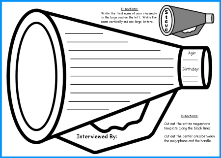 Back to School Creative Writing Megaphone Circus Templates and Worksheets