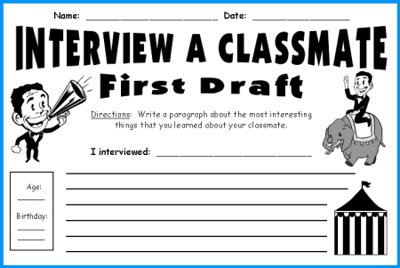 Interview a Classmate First Draft Printable Worksheets
