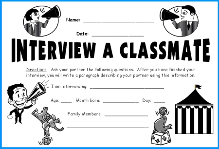 Interview a Student In Your Class Back to School Worksheets and Ideas
