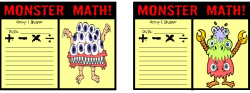 Monster Math Student Worksheets