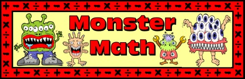 Monster Math Free Bulletin Board Display Banner for Elementary School Teachers