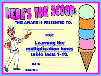 Math Multiplication Award Certificate for Elementary School Students