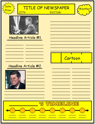Newspaper Creative Writing Templates and Projects John F. Kennedy Example