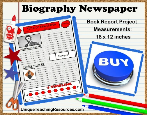 Nonfiction Biography Newspaper Book Report Projects For Elementary School Students