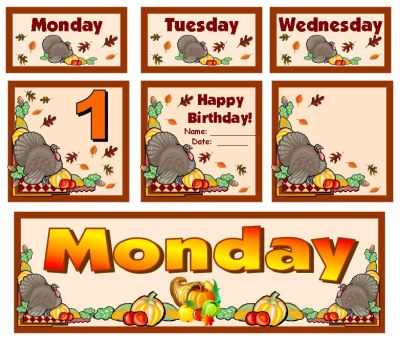 November and Thanksgiving Classroom Calendar Set For Elementary School Teachers Using Pocket Charts