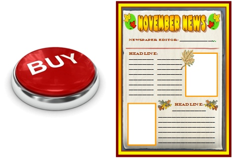 November and Fall Newspaper Creative Writing Templates Buy Now