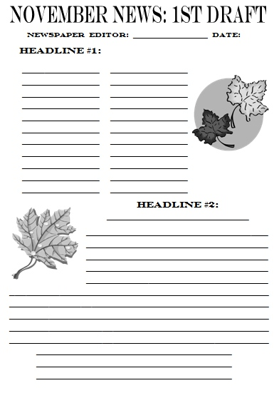 November Newspaper First Draft Creative Writing Printable Worksheet