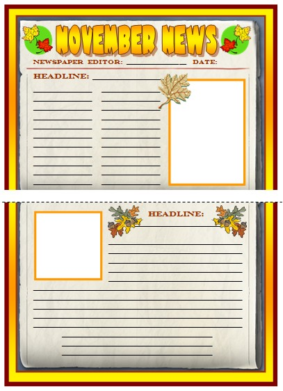 Thanksgiving Newspaper Creative Writing Templates, Worksheets, and Lesson Plans for November