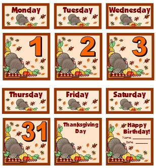 Thanksgiving and November Printable Calendar For School Teachers