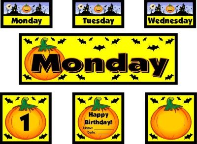 October and Halloween Classroom Calendar Set For Elementary School Teachers Using Pocket Charts