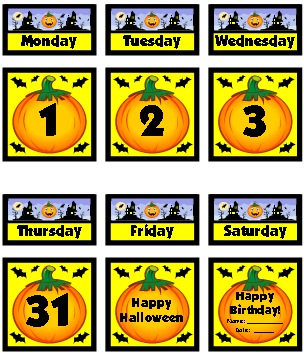 Halloween and October Printable Calendar