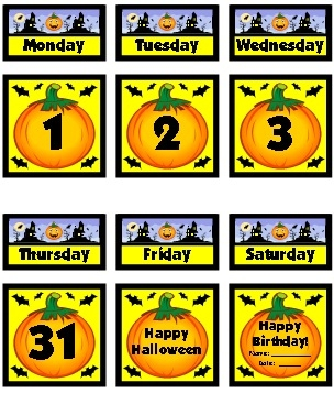 Example of free calendar dates October classroom calendar set