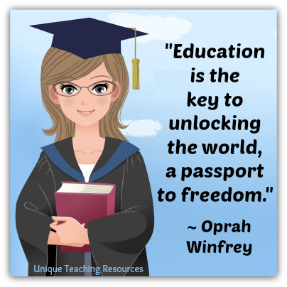 Oprah Winfey Quote - Education is the key to unlocking the world, a passport to freedom.