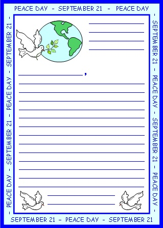 Peace Day Letter to World Leader Printable Worksheets