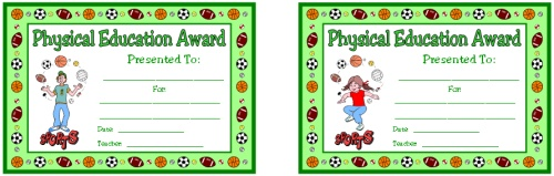 PE Award Certificates for Boy and Girl Students and Athletes