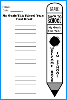 My Goals for a New School Year First Draft Writing Worksheets for Students