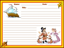 Thanksgiving Pilgrims and Mayflower November Writing Prompts Printable Worksheet