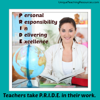 Proud to be a teacher!  Teachers take pride in their jobs!