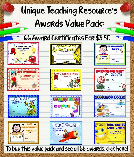 Printable Awards and Certificates For Elementary School Teachers - 66 Value Pack Set
