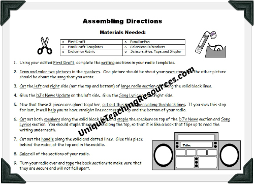 Radio book report project assembling directions worksheet