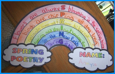 Spring Rainbow Poem Example Photograph of Student Project