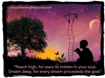 Reach high motivational quote by Pamela Vaull Starr