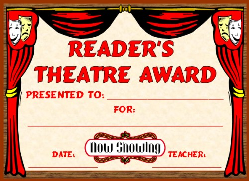 English award certificates readers theatre award participation certificate yadclub Choice Image