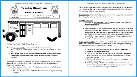 Directions for School Bus Student Project Templates