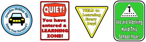 Back To School Bus Road Signs for Bulletin Board Display Examples
