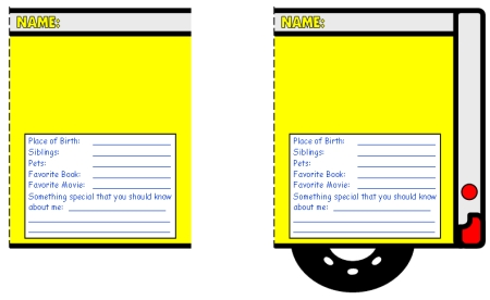 Back to School All About Me School Bus Templates Writing Activity