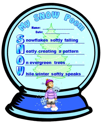 Winter and Snow Acrostic Poem Snow Globe Poetry Templates and Lesson Plans