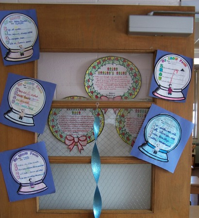 Classroom Door Display Winter Snow Globe Poems and Poetry Templates