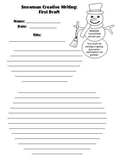 Snowman Creative Writing Project First Draft Worksheet
