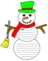 Snowman Shaped Creative Writing Templates for Winter Themes