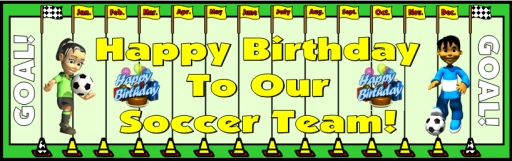 Soccer Happy Birthday Classroom and Bulletin Board Display Sports Theme