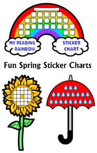 Fun Spring Reading Sticker Charts: Rainbows, Flowers, and Umbrellas