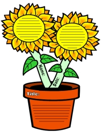 Spring Sunflower Shaped Creative Writing Templates and Projects
