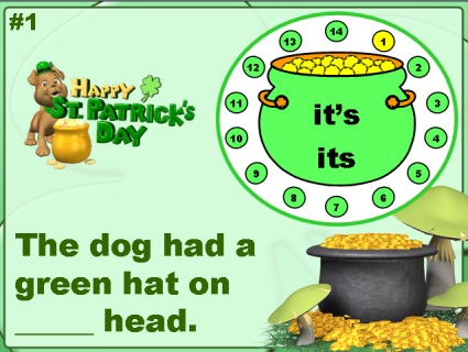 Grammar and Spelling St. Patrick's Day Powerpoint Lesson Activity
