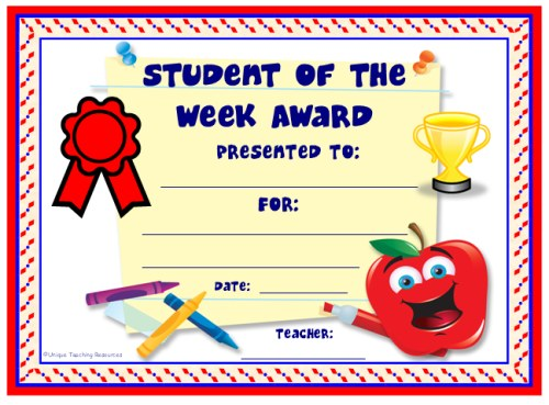 Achievement award certificates for Student of the week certificate template free