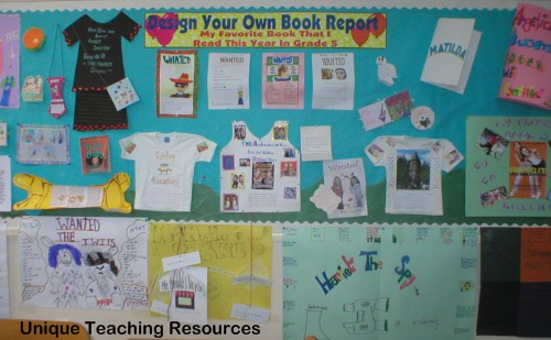 Classroom book report projects bulletin board display.  Students design their own projects for a fun end of school year activity.