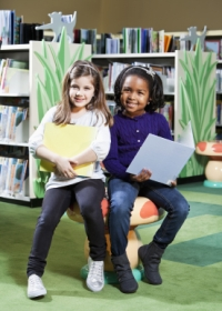Library Elementary Girl Students Reading