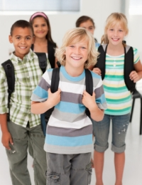 Back to School Students With Backpacks