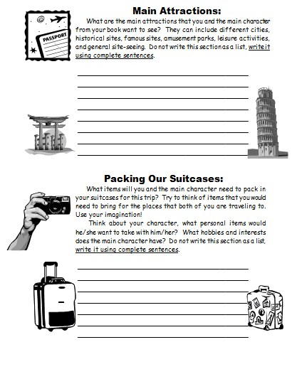 Vacation Suitcase Book Report Projects First Draft Printable Worksheets