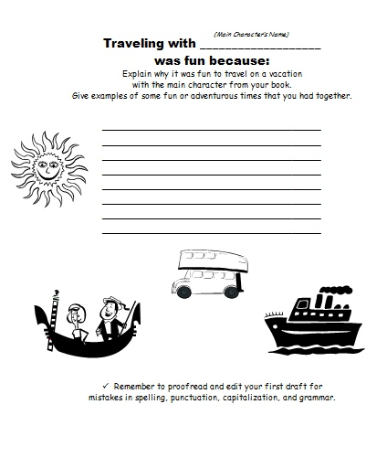 Suitcase Book Report Projects First Draft Printable Worksheets