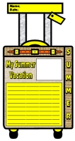 My Summer Vacation and Holiday Suitcase Writing Templates