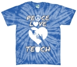 Peace Love Teacher Tie Dye Teacher Tshirt
