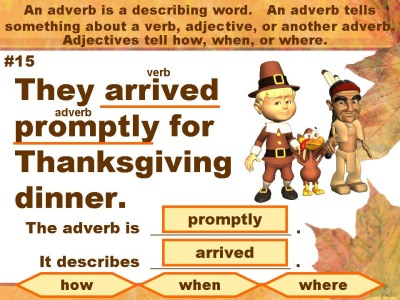 Thanksgiving Adverbs Powerpoint Presentation