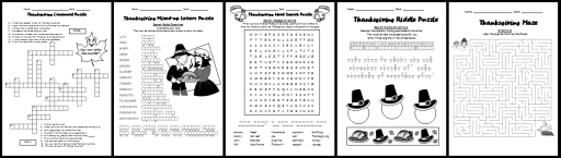 Fun Thanksgiving Crossword Puzzle and Wordsearch Puzzles Printable Fall and Autumn Worksheets