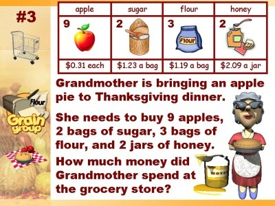 Grandmother is bringing an apple to Thanksgiving dinner. She needs to buy 9 apples, 2 bags of sugar, 3 bags of four, and 2 jars of honey. How much money did Grandmother spend at the grocery store?