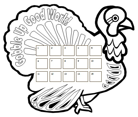Turkey Thanksgiving Sticker Chart Templates for Elementary School Teachers